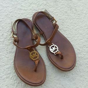 MICHAEL KORS Gold Charm Brown Flat Sandal Size 7